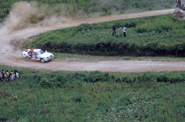 1985 World Rally Championship.Safari Rally, Kenya. 4-8 April 1985.Juha Kankkunen/Fred Gallagher (Toyota Celica TCT), 1st position.World Copyright: LAT PhotographicRef: 35mm transparency 85RALLY04