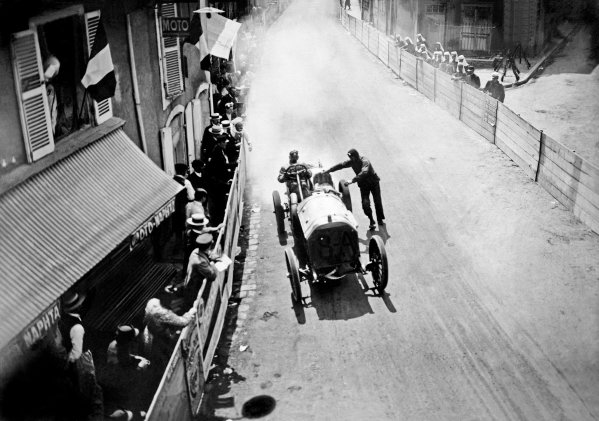 1906 French Grand Prix. Le Mans, France. 26-27 June 1906. Alessandro Cagno (Itala 120hp) retires at Connerre. Published - Autocar 7/7/1906 p12. Ref: S66/1424/MotorSport calendar World Copyright: LAT Photographic