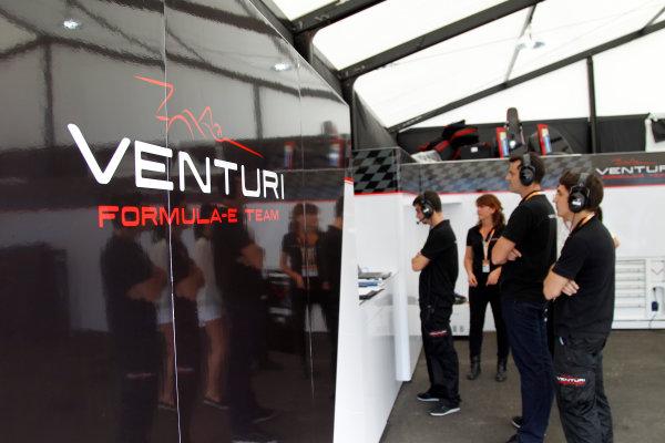 FIA Formula E Race  Venturi Team Garage. Punta Del Este, Uruguay, South America. Formula E Third Race Event, 11th - 14th December 2014. Saturday 13 December 2014.  Photo: Adam Warner/LAT/FE ref: Digital Image _A8C0468