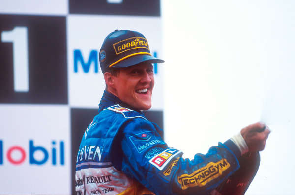 Spa-Francorchamps, Belgium.25-27 August 1995.Michael Schumacher (Benetton Renault) 1st position on the podium.Ref-95 BEL 04.World Copyright - LAT Photographic