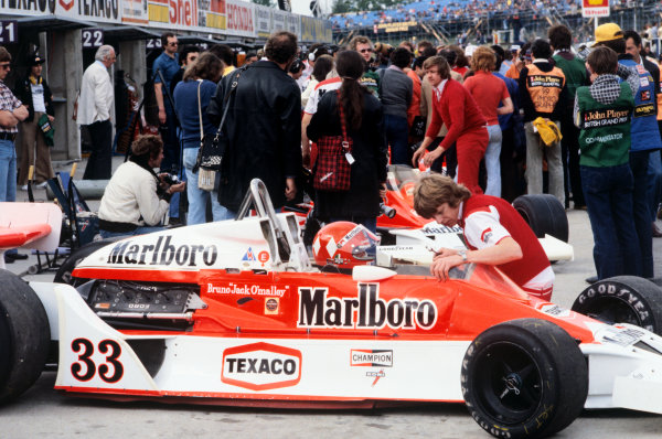 Brands Hatch, England. 14th - 16th July 1978.Bruno Giacomelli (McLaren-Ford M26), 7th position, in the pit lane, action.World Copyright: LAT Photographic.Ref: Colour Transparency.