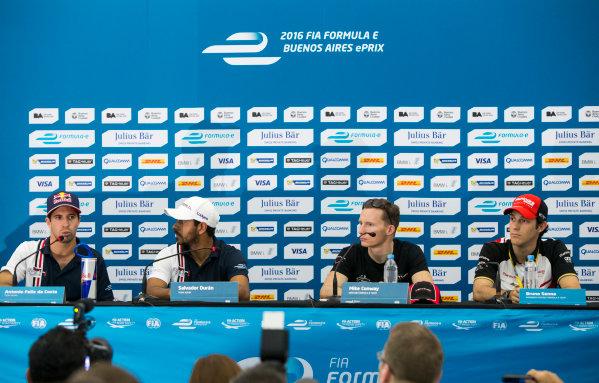 2015/2016 FIA Formula E Championship. Buenos Aires ePrix, Buenos Aires, Argentina. Friday 5 February 2016. Antonio Felix da Costa (POR), Team Aguri - Spark SRT_01E, Salvador Duran (MEX), Team Aguri - Spark SRT_01E, Mike Conway (GBR), Venturi VM200-FE-01 and Bruno Senna (BRA), Mahindra Racing M2ELECTRO in the official press conference. Photo: Zak Mauger/LAT/Formula E ref: Digital Image _L0U9895