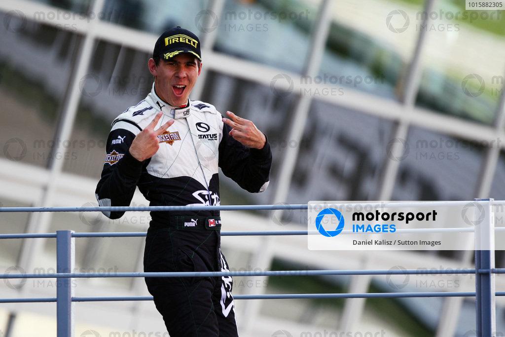Race winner Robert Wickens (CDN) Status Grand Prix celebrates on the podium. GP3 Series, Rd 8, Race 2, Monza, Italy, Sunday 12 September 2010.