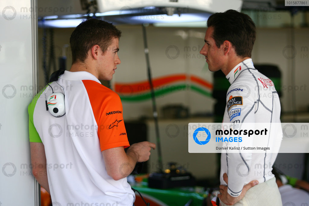 (L to R): Paul Di Resta (GBR) Force India and Adrian Sutil (GER) Force India F1.