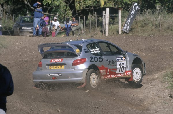 2001 World Rally Championship.Argentine Rally, Argentina. 3-6 May 2001.Harri Rovanpera/Risto Pietilainen (Peugeot 206 WRC), retired.World Copyright: LAT PhotographicRef: 35mm transparency 01RALLY16