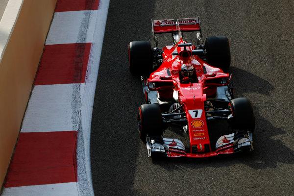 Yas Marina Circuit, Abu Dhabi, United Arab Emirates. Tuesday 28 November 2017. Kimi Raikkonen, Ferrari SF70H.  World Copyright: Zak Mauger/LAT Images  ref: Digital Image _O3I0158