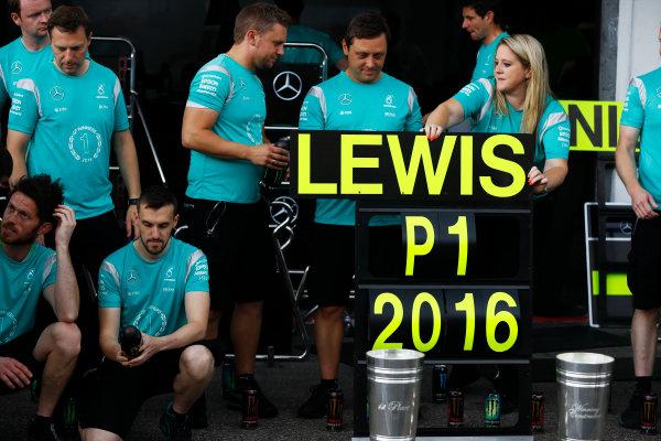 Hockenheim, Germany. Sunday 31 July 2016. The Mercedes team celebrates victory. World Copyright: Andrew Hone/LAT Photographic ref: Digital Image _ONY1460