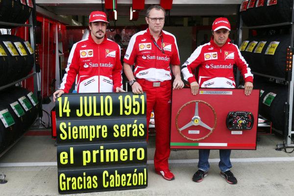 (L to R): Fernando Alonso (ESP) Ferrari, Stefano Domenicali (ITA) Ferrari General Director and Felipe Massa (BRA) Ferrari. Formula One World Championship, Rd8, British Grand Prix, Race Day, Silverstone, England, Sunday 30 June 2013.