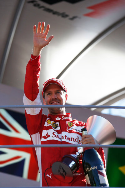 Autodromo Nazionale di Monza, Monza, Italy. Sunday 6 September 2015. Sebastian Vettel, Ferrari, 2nd Position, celebrates on the podium. World Copyright: Glenn Dunbar/LAT Photographic ref: Digital Image _89P9063