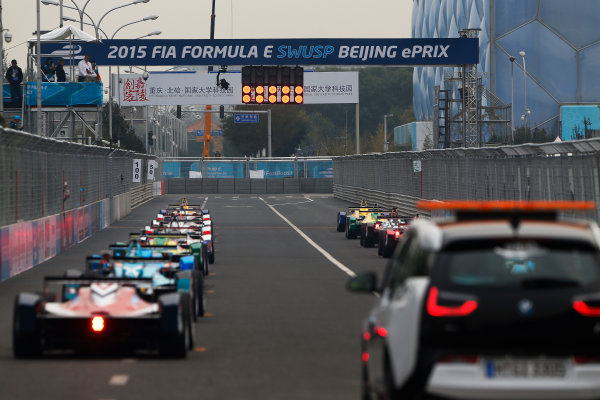 FIA Formula E Championship 2015/16. Beijing ePrix, Beijing, China. The Race start Race Beijing, China, Asia. Saturday 24 October 2015 Photo: Sam Bloxham / LAT / FE ref: Digital Image _SBL7421