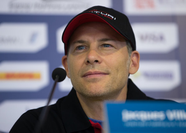 FIA Formula E Championship 2015/16. Beijing ePrix, Beijing, China. Venturi's Jacques Villeneuve during the Press conference  Beijing, China, Asia. Friday 23 October 2015 Photo:  / LAT / FE ref: Digital Image _L2_0089