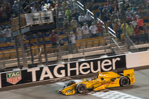17-18 July, 2015, Newton, Iowa USA Ryan Hunter-Reay crosses the finish line for the win under the checkered flag  ?2015 Scott R LePage  LAT Photo USA