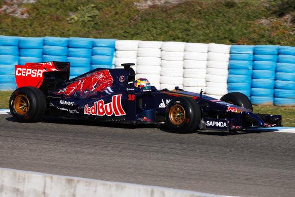 2014 F1 Pre Season Test 1 - Day 1 Circuito de Jerez, Jerez, Spain. Tuesday 28 January 2014. Jean-Eric Vergne, Toro Rosso STR9 Renault. World Copyright: Glenn Dunbar/LAT Photographic. ref: Digital Image _W2Q6194.JPG