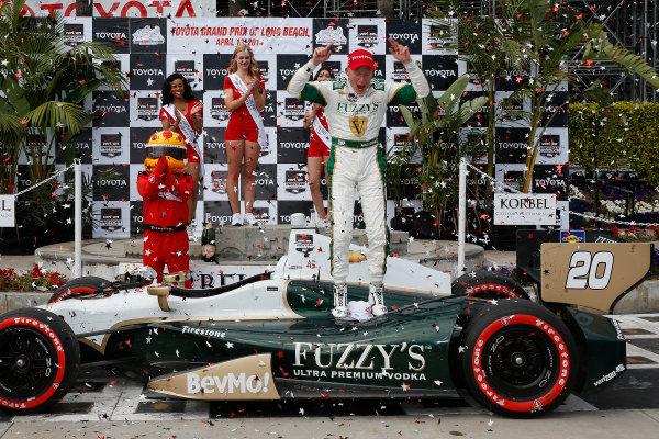 11-13 April, 2014, Long Beach, California, USA Winner Mike Conway celebrates in victory lane © 2014, Michael L. Levitt LAT Photo USA
