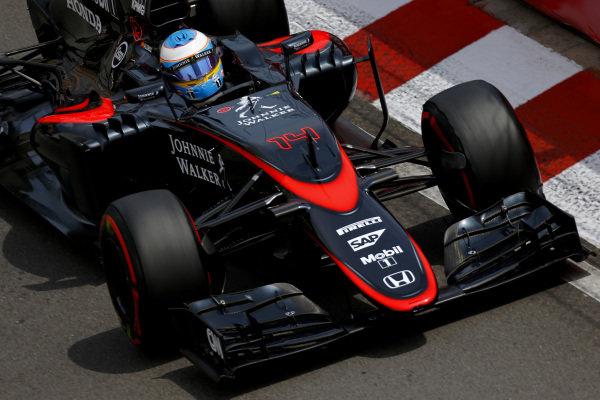 Fernando Alonso (ESP) McLaren MP4-30 at Formula One World Championship, Rd6, Monaco Grand Prix Qualifying, Monte-Carlo, Monaco, Saturday 23 May 2015. BEST IMAGE