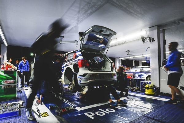 The car of Andreas Mikkelsen (NOR) / Ola Floene (NOR) Volkswagen Polo R WRC in service at FIA World Rally Championship, R10, Coates Hire Rally Australia, Day Two, Coffs Harbour, New South Wales, Australia, 12 September 2015.