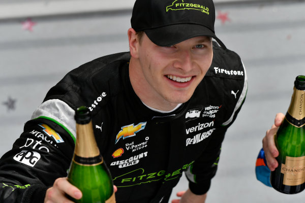 2017 Verizon IndyCar Series Honda Indy Grand Prix of Alabama Barber Motorsports Park, Birmingham, AL USA Sunday 23 April 2017 Josef Newgarden, Team Penske Chevrolet celebrates in victory lane World Copyright: Scott R LePage LAT Images ref: Digital Image lepage-170423-bhm-6515