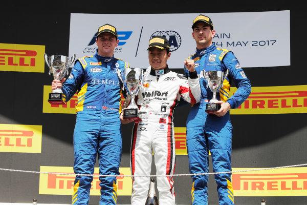 Circuit de Catalunya, Barcelona, Spain. Sunday 14 May 2017 Nobuharu Matsushita (JPN, ART Grand Prix) Oliver Rowland (GBR, DAMS) and Nicholas Latifi (CAN, DAMS)  Photo: /FIA Formula 2 ref: Digital Image _56I0248
