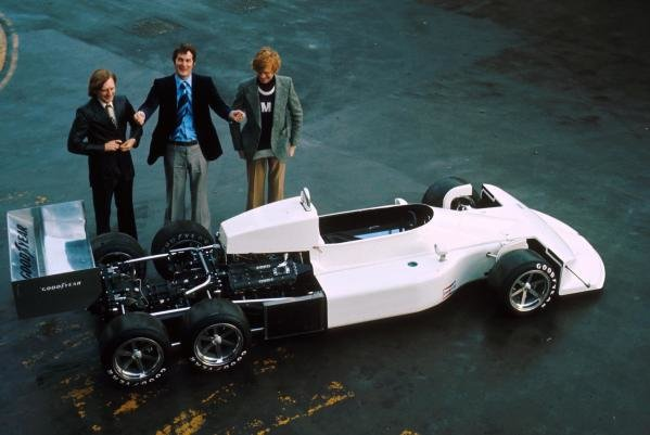 March 2-4-0, six wheeled F1 car with designer Robin Herd(GBR) centre and Max Mosley(GBR) right 1976