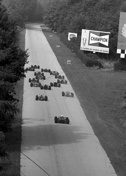 The field of only 15 cars head out towards the Curva Grande after the start Italian GP, Monza, 8 September 1969