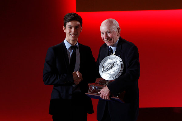 2015 British Racing Drivers Club Awards Grand Connaught Rooms, London Monday 7th December 2015 Jack Aitken and John Surtees. World Copyright: Jakob Ebrey/LAT Photographic ref: Digital Image AitkenSurtees-01