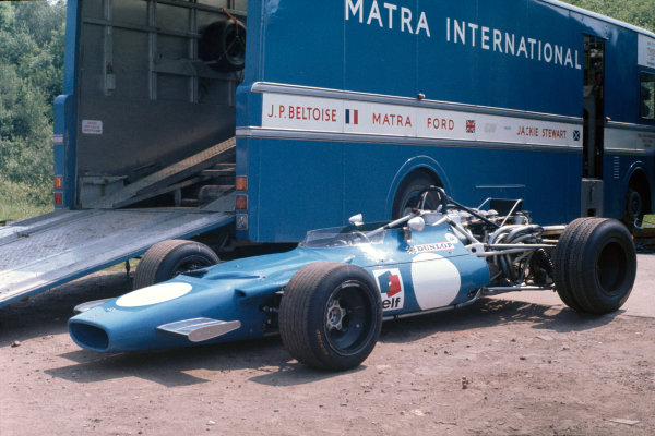 Silverstone, Great Britain. 19th July 1969.Jean-Pierre Beltoise (Matra MS84-Ford), 9th position, in the paddock.World Copyright: LAT Photographic.Ref: 69 GB 47.
