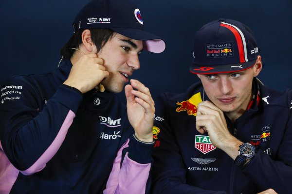 The Thursday press conference. Lance Stroll, Racing Point, and Max Verstappen, Red Bull Racing