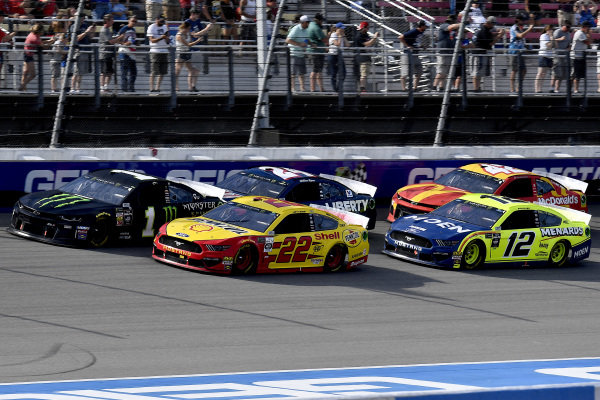 #22: Joey Logano, Team Penske, Ford Mustang Shell Pennzoil and #12: Ryan Blaney, Team Penske, Ford Mustang Menards/Moen, and #1: Kurt Busch, Chip Ganassi Racing, Chevrolet Camaro Monster Energy