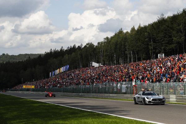 The Safety Car leads Charles Leclerc, Ferrari SF90