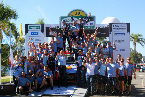 Thierry Neuville, Nicolas Gilsoul, And the Hyundai Motorsport team celebrate winning Rally Argentina 2019