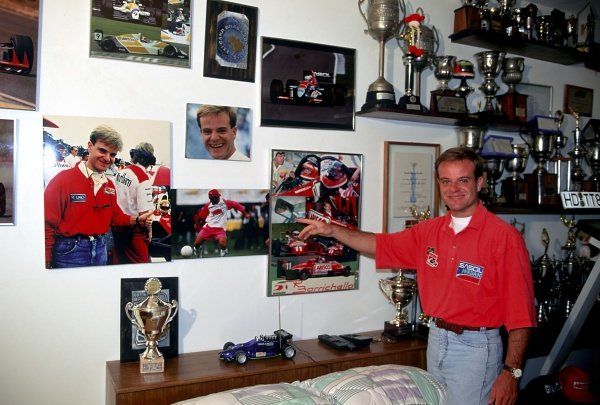 Rubens Barrichello (BRA) Jordan at home in Brazil with some of his trophies and racing memorabilia. Formula One Drivers at Home, Sao Paulo, Brazil, 27 March 1994.