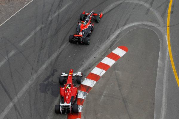Monte Carlo, Monaco16th May 2010Lucas di Grassi, Virgin VR-01 Cosworth, retired, leads Fernando Alonso, Ferrari F10, 7th position. Action. World Copyright: Steven Tee/LAT Photographicref: Digital Image _A8C1461