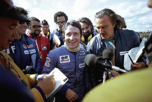Patrick Depailler being interviewed after his second place finish.