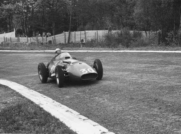 Spa-Francorchamps, Belgium. 3rd June 1956.Stirling Moss (Maserati 250F), 3rd position. Moss took over Cesare Perdisa's car when his own car shed a wheel and retired, action. World Copyright: LAT Photographic.Ref: 385 - 14.