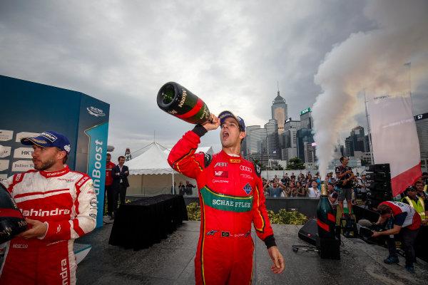 FIA Formula E Hong Kong e-Prix. Podium. Lucas Di Grassi (BRA), ABT Schaeffler Audi Sport, Spark-Abt Sportsline, ABT Schaeffler FE02. Hong Kong Harbour, Hong Kong, Asia. Sunday 9 October 2016. Photo: Adam Warner / FE / LAT ref: Digital Image _L5R8462