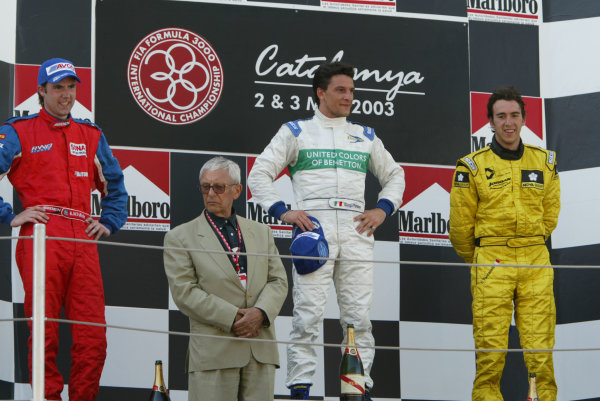 2003 F3000 Championship.Barcelona, Spain.3rd May 2003.Podium.World Copyright LAT Photographic.ref: Digital image only