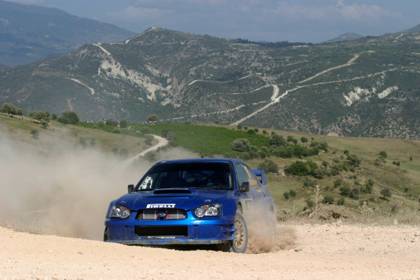 2004 FIA World Rally Champs. Round five, Cyprus Rally.14th- 16th May 2004.Alistair Ginley, Subaru, action.World Copyright: McKlein/LAT