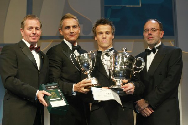 2003 AUTOSPORT AWARDS, The Grosvenor, London. 7th December 2003.Alex LLoyd collects the McLaren Autosport Young driver of the year.Photo: Peter Spinney/LAT PhotographicRef: Digital Image only