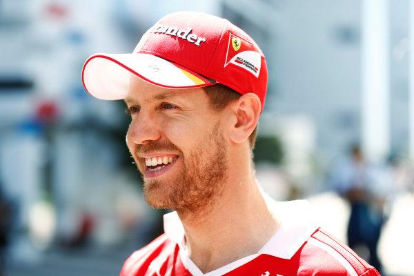 Sochi Autodrom, Sochi, Russia. Thursday 27 April 2017. Sebastian Vettel, Ferrari.  World Copyright: Glenn Dunbar/LAT Images ref: Digital Image _31I6983