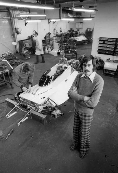 Gordon Murray (RSA) Brabham Designer at the Brabham MRD headquarters with a mechanic working on one of his BT44s.