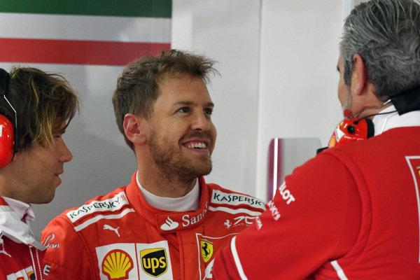 Sebastian Vettel (GER) Ferrari and Maurizio Arrivabene (ITA) Ferrari Team Principal at Formula One World Championship, Rd2, Chinese Grand Prix, Practice, Shanghai, China, Friday 7 April 2017.