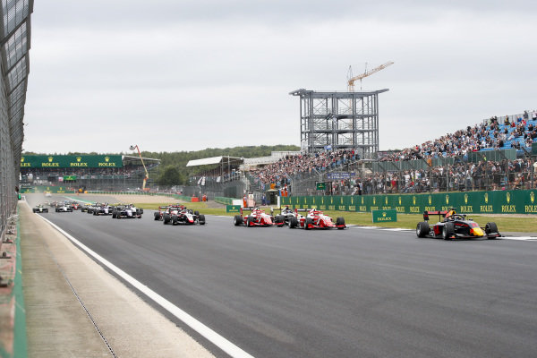 Juri Vips (EST) Hitech Grand Prix leads Jehan Daruvala (IND) PREMA Racing, Marcus Armstrong (NZL) PREMA Racing and Fabio Scherer (CHE) Sauber Junior Team by Charouz at the start of the race