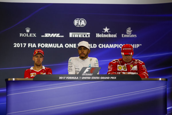 Sebastian Vettel (GER) Ferrari, Lewis Hamilton (GBR) Mercedes AMG F1 and Kimi Raikkonen (FIN) Ferrari in the Press Conference at Formula One World Championship, Rd17, United States Grand Prix, Race, Circuit of the Americas, Austin, Texas, USA, Sunday 22 October 2017.