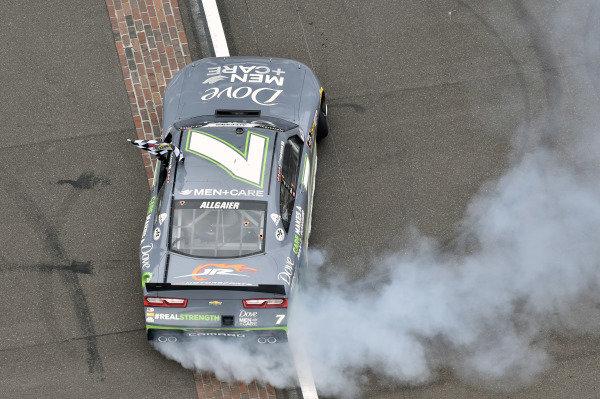#7: Justin Allgaier, JR Motorsports, Chevrolet Camaro Dove Men + Care celebrates his win