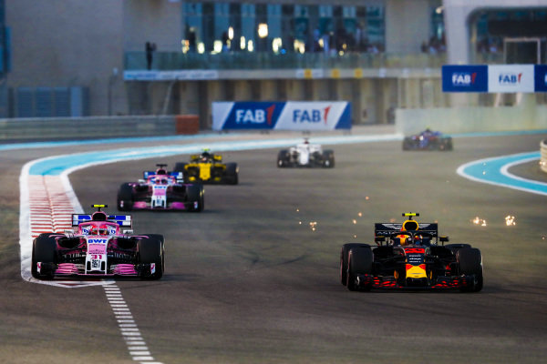 Max Verstappen, Red Bull Racing RB14, leads Esteban Ocon, Racing Point Force India VJM11, Sergio Perez, Racing Point Force India VJM11, and Carlos Sainz Jr., Renault Sport F1 Team R.S. 18