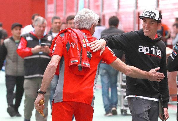 Gigi Dall'Igna, Ducati Team General Manager, Aleix Espargaro, Aprilia Racing Team Gresin.