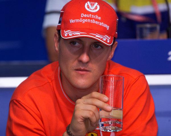 2001 Malaysian Grand Prix.Sepang, Kuala Lumpur, Malaysia. 16-18 March 2001.Michael Schumacher (Ferrari) in the Thursday press conference.World Copyright - Steve Etherington/LAT Photographic.ref: 18mb Digital Image