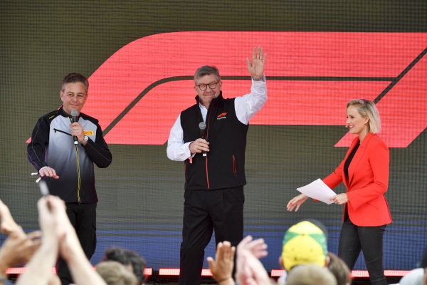 Mario Isola, Racing Manager, Pirelli Motorsport, and Ross Brawn, Managing Director of Motorsports, FOM at the Federation Square event