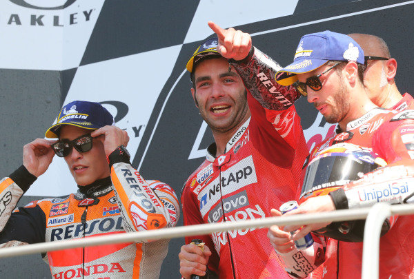 Podium: race winner Danilo Petrucci, Ducati Team, second place Marc Marquez, Repsol Honda Team, third place Andrea Dovizioso, Ducati Team.