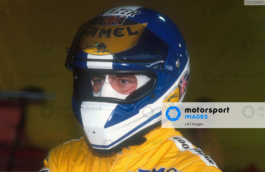 1990 Brazilian Grand Prix.Interlagos, Sao Paulo, Brazil.23-25 March 1990.Derek Warwick (Lotus Lamborghini). He exited the race with an engine failure on lap 25.Ref-90 BRA 12.World Copyright - LAT Photographic